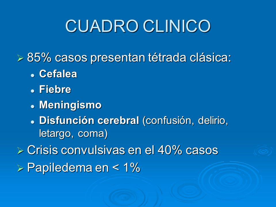 CUADRO CLINICO 85% casos presentan tétrada clásica:
