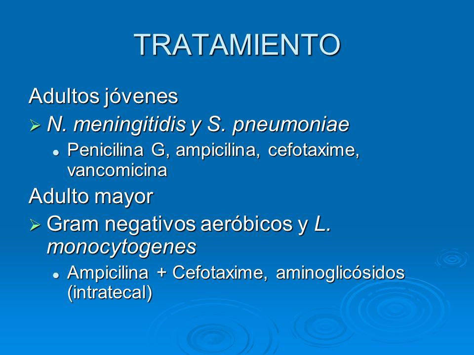 TRATAMIENTO Adultos jóvenes N. meningitidis y S. pneumoniae
