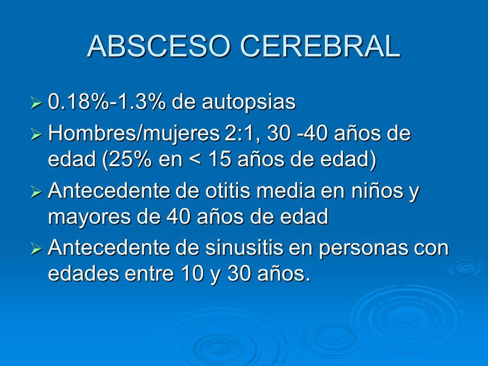 ABSCESO CEREBRAL 0.18%-1.3% de autopsias