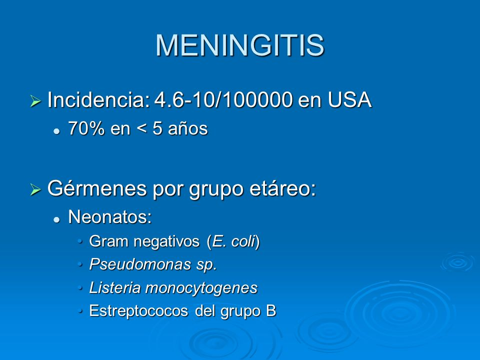 MENINGITIS Incidencia: 4.6-10/100000 en USA Gérmenes por grupo etáreo: