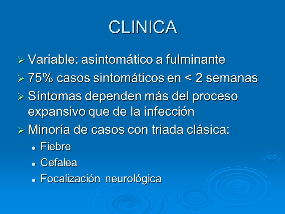 CLINICA Variable: asintomático a fulminante