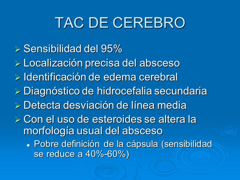 TAC DE CEREBRO Sensibilidad del 95% Localización precisa del absceso