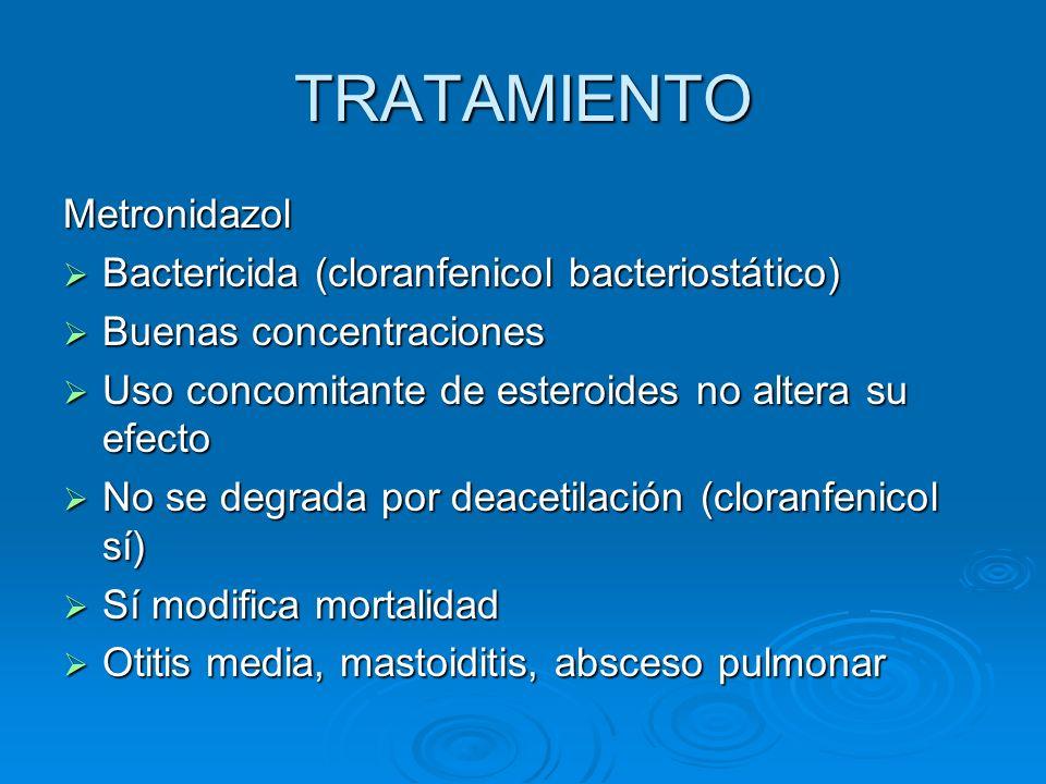 TRATAMIENTO Metronidazol Bactericida (cloranfenicol bacteriostático)