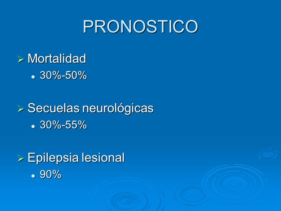 PRONOSTICO Mortalidad Secuelas neurológicas Epilepsia lesional 30%-50%