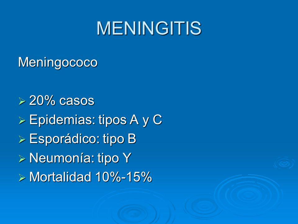 MENINGITIS Meningococo 20% casos Epidemias: tipos A y C