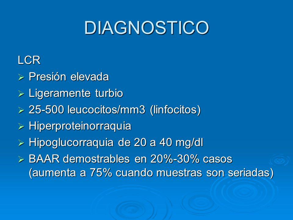 DIAGNOSTICO LCR Presión elevada Ligeramente turbio