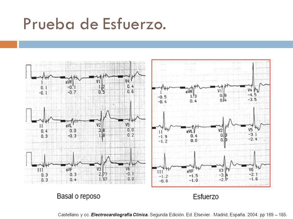 Prueba de Esfuerzo. Castellano y cc. Electrocardiografía Clínica.