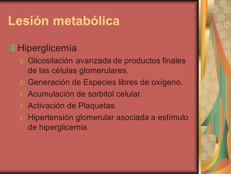 Lesión metabólica Hiperglicemia