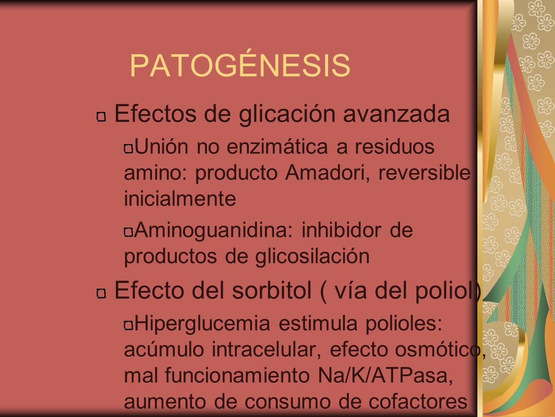 PATOGÉNESIS Efectos de glicación avanzada