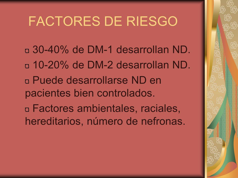 FACTORES DE RIESGO 30-40% de DM-1 desarrollan ND.
