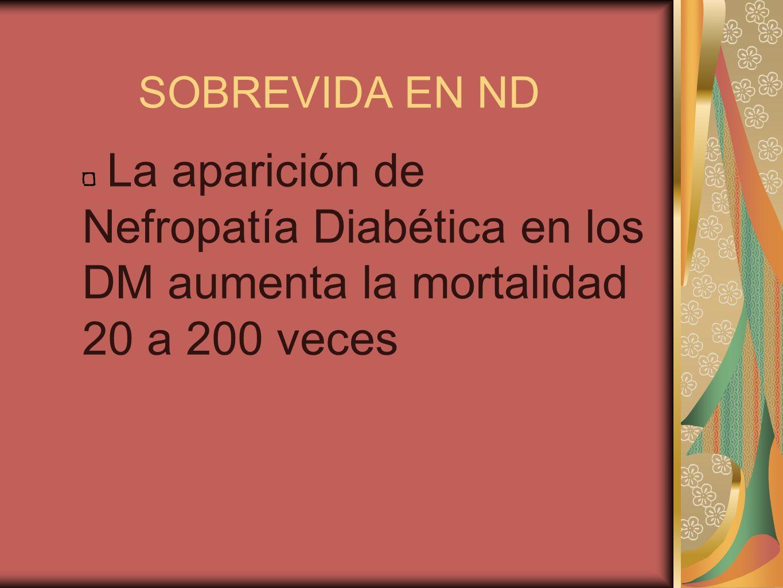 SOBREVIDA EN ND La aparición de Nefropatía Diabética en los DM aumenta la mortalidad 20 a 200 veces.