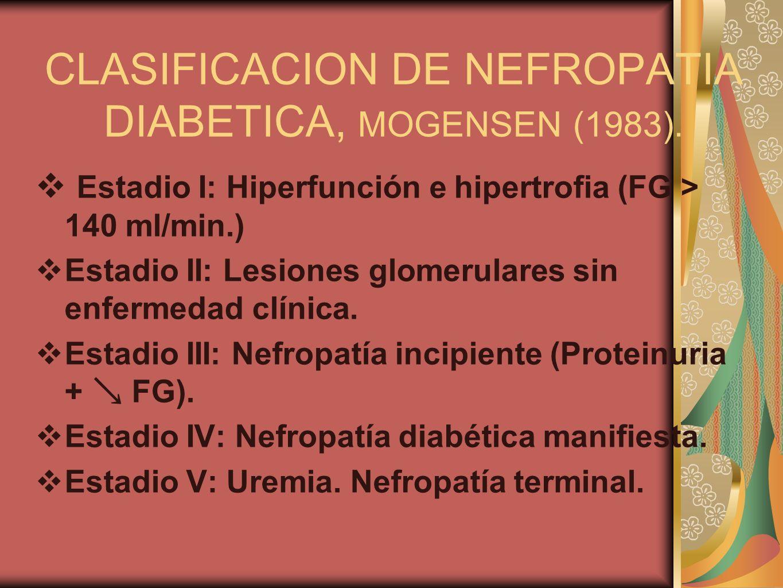 CLASIFICACION DE NEFROPATIA DIABETICA, MOGENSEN (1983).