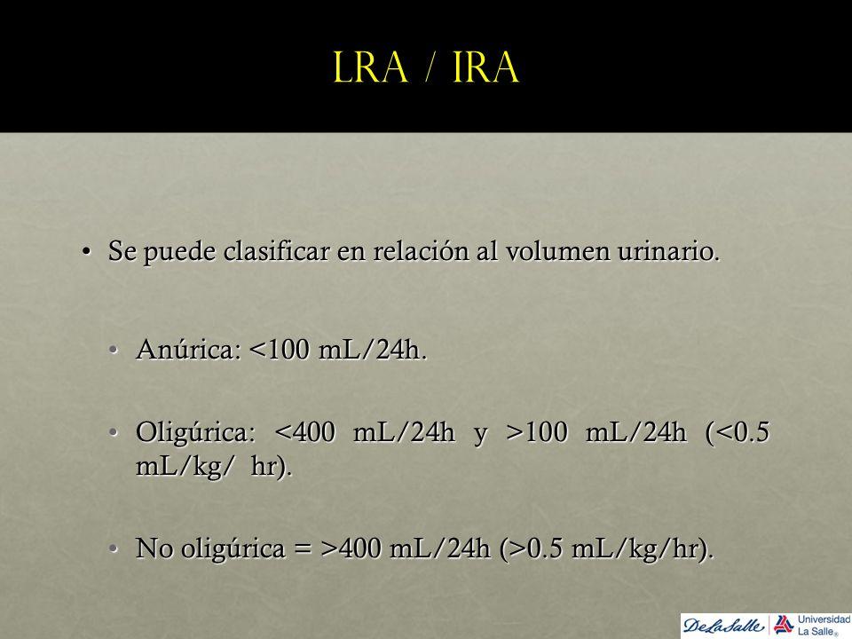 LRA / IRA Se puede clasificar en relación al volumen urinario.