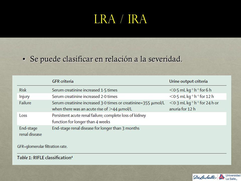 LRA / IRA Se puede clasificar en relación a la severidad.