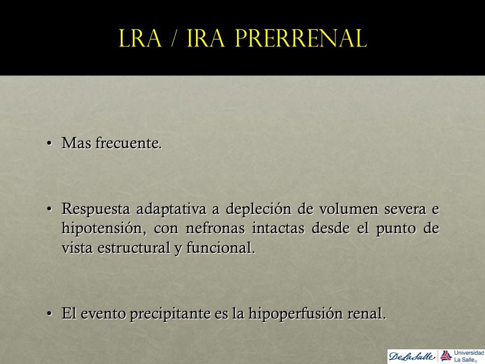 LRA / IRA prerrenal Mas frecuente.