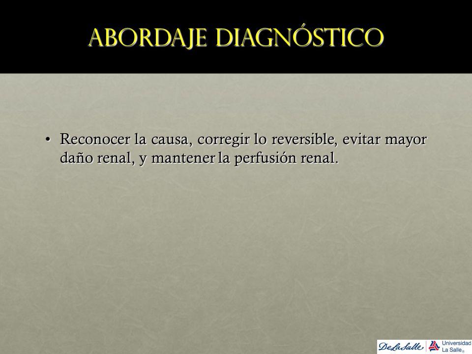 Abordaje diagnóstico Reconocer la causa, corregir lo reversible, evitar mayor daño renal, y mantener la perfusión renal.