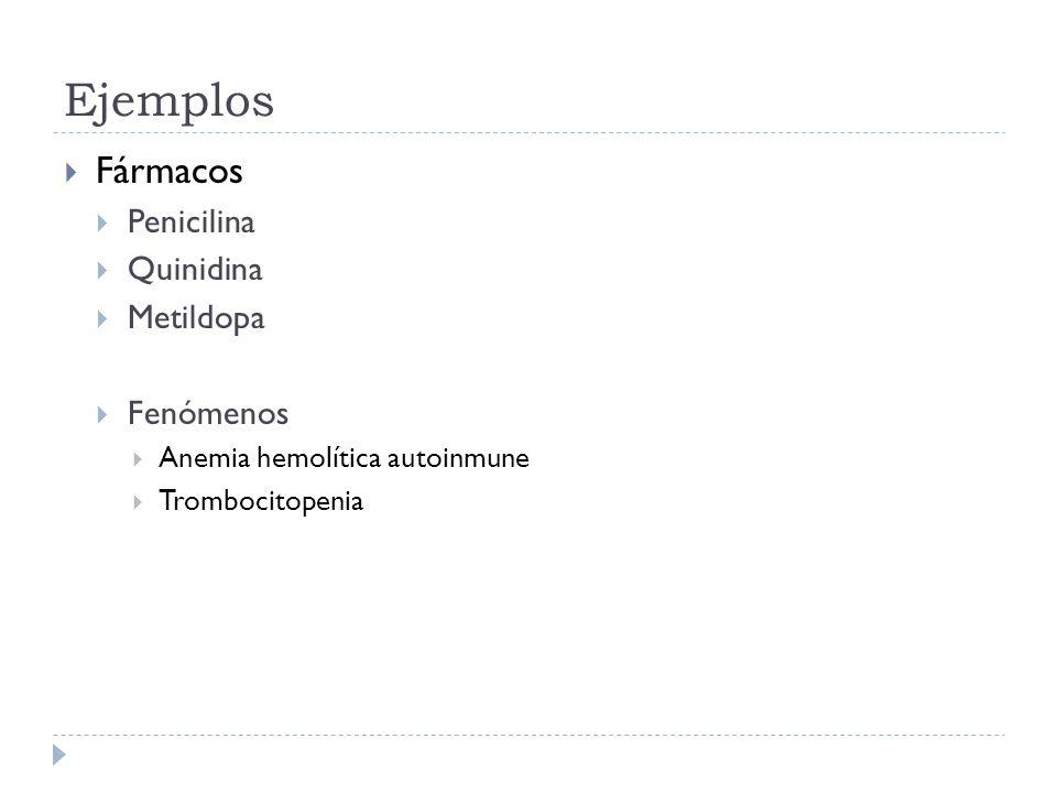 Ejemplos Fármacos Penicilina Quinidina Metildopa Fenómenos