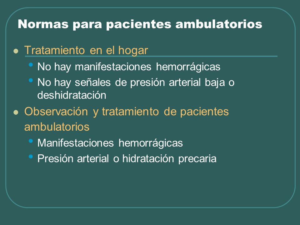 Normas para pacientes ambulatorios