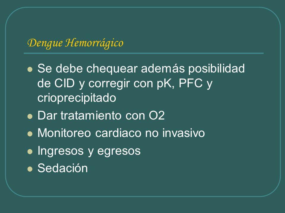 Dengue HemorrágicoSe debe chequear además posibilidad de CID y corregir con pK, PFC y crioprecipitado.