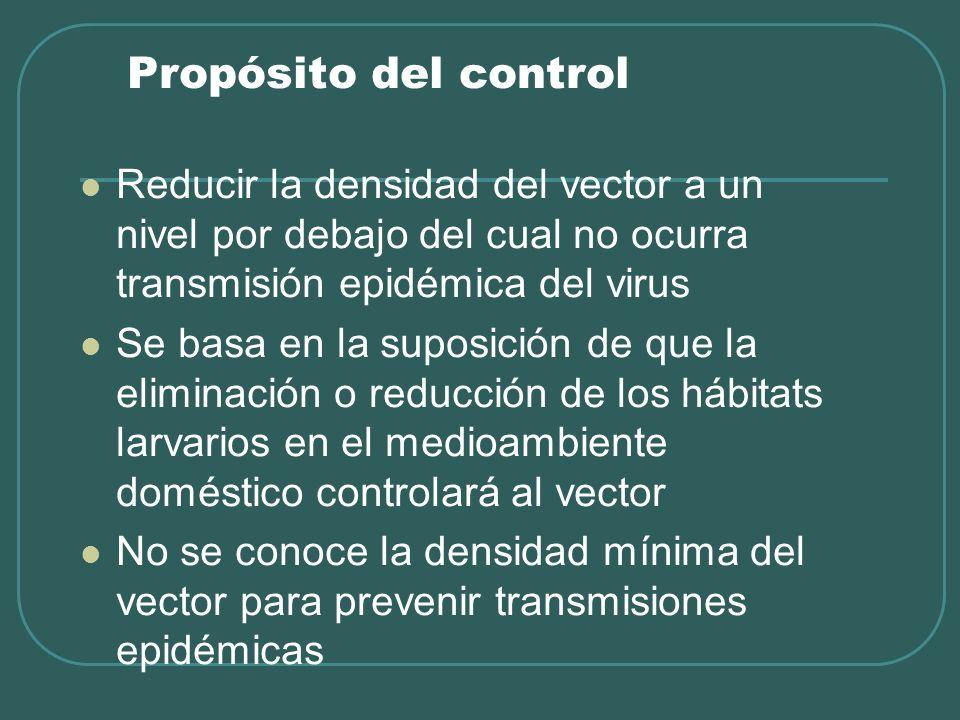Propósito del control Reducir la densidad del vector a un nivel por debajo del cual no ocurra transmisión epidémica del virus.