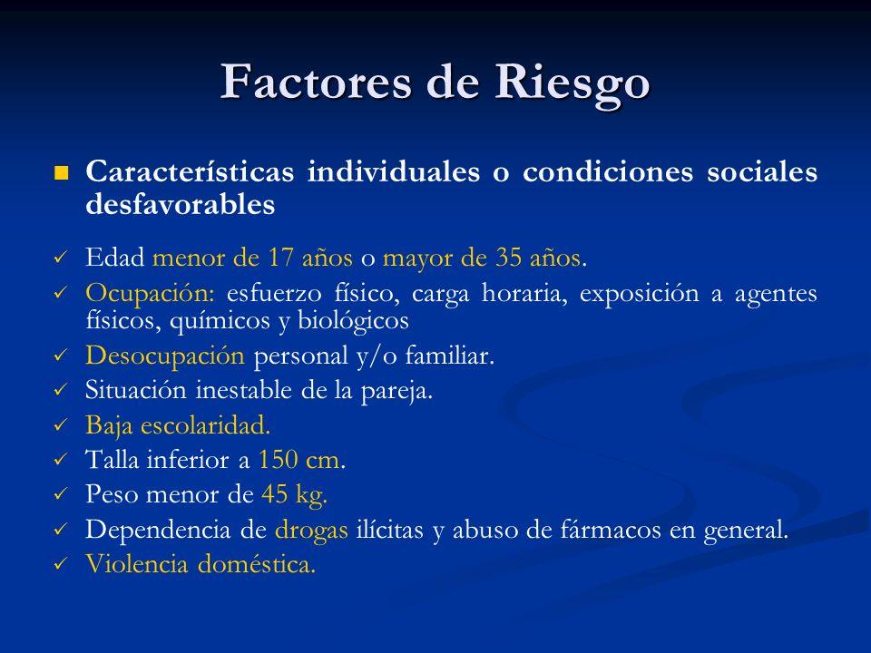 Factores de Riesgo Características individuales o condiciones sociales desfavorables. Edad menor de 17 años o mayor de 35 años.