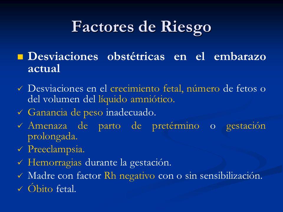 Factores de Riesgo Desviaciones obstétricas en el embarazo actual