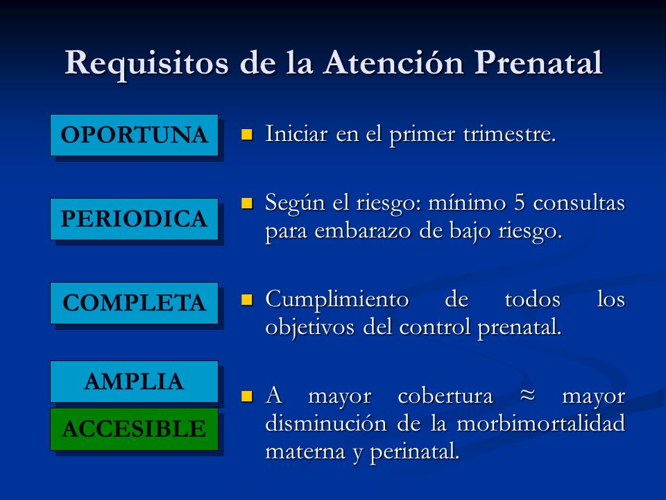 Requisitos de la Atención Prenatal