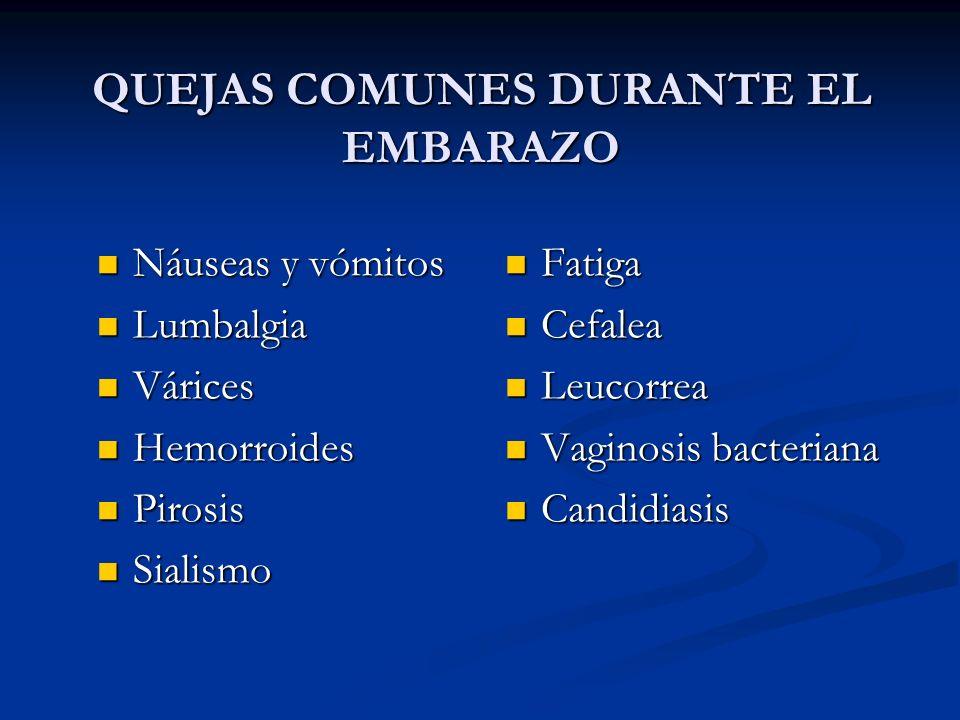 QUEJAS COMUNES DURANTE EL EMBARAZO