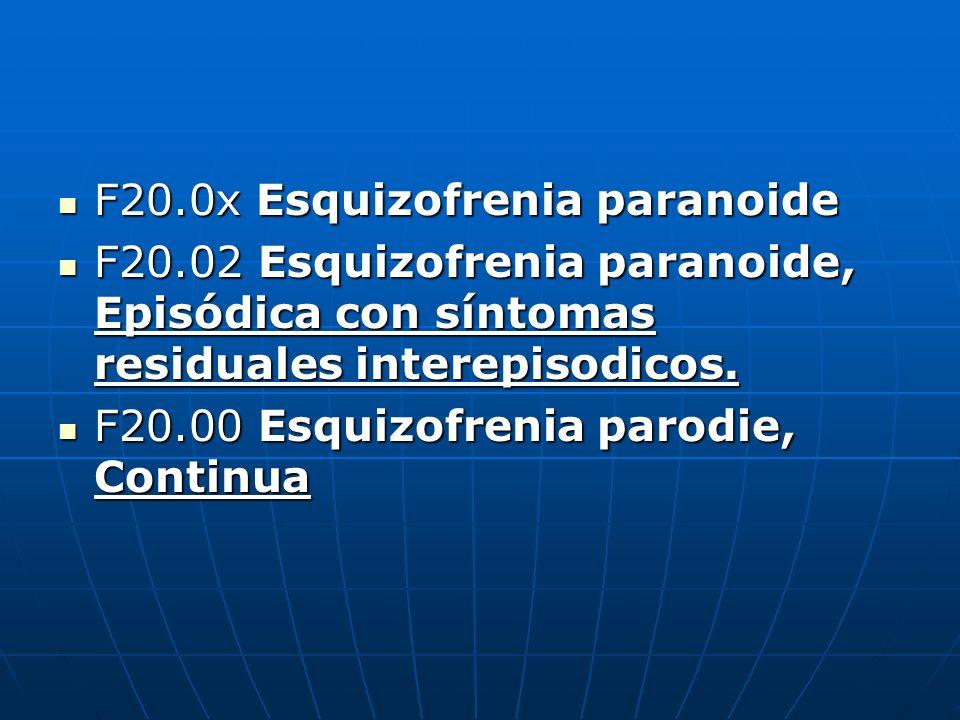 F20.0x Esquizofrenia paranoide