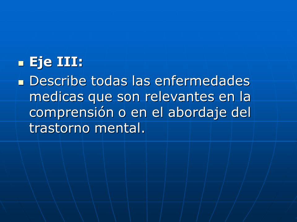 Eje III: Describe todas las enfermedades medicas que son relevantes en la comprensión o en el abordaje del trastorno mental.