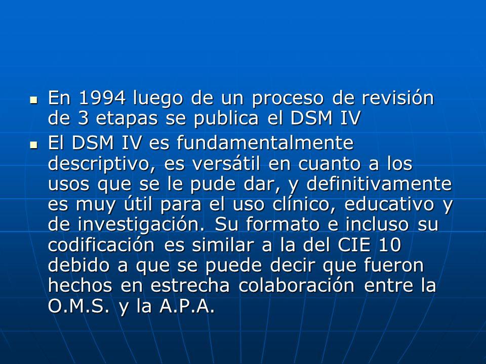En 1994 luego de un proceso de revisión de 3 etapas se publica el DSM IV