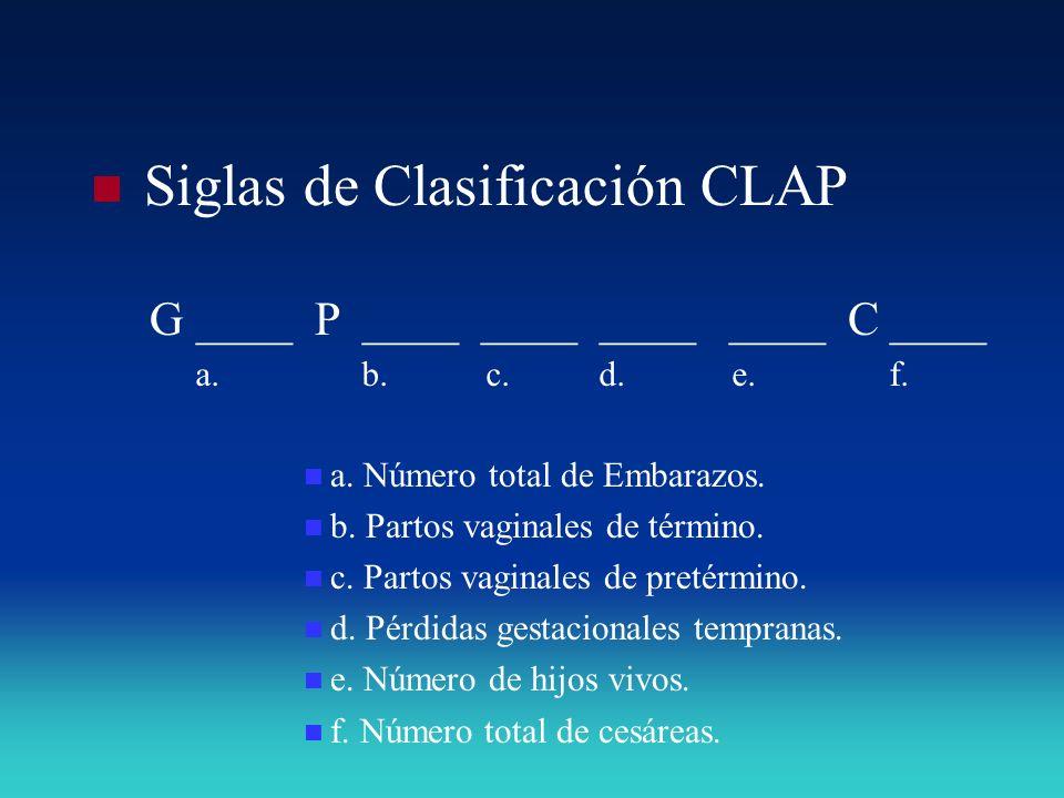 Siglas de Clasificación CLAP