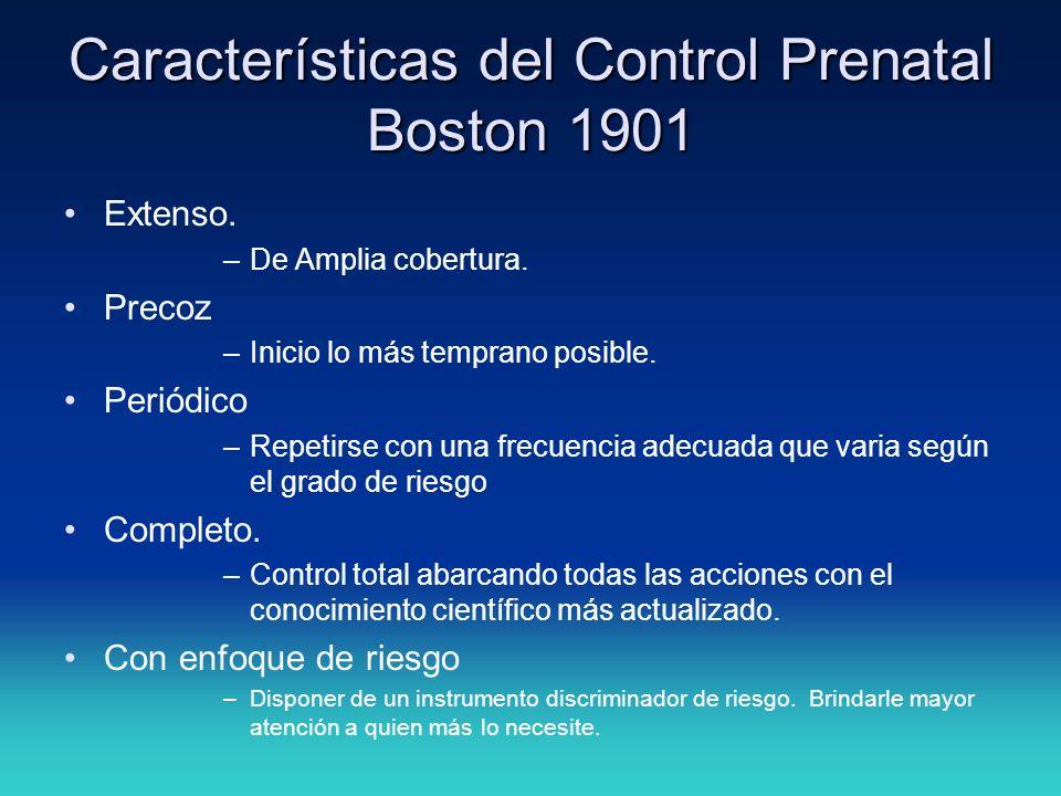 Características del Control Prenatal Boston 1901