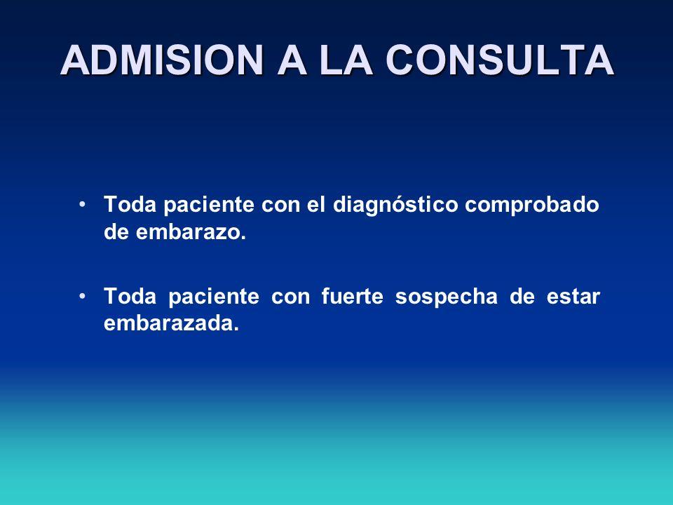 ADMISION A LA CONSULTA Toda paciente con el diagnóstico comprobado de embarazo.