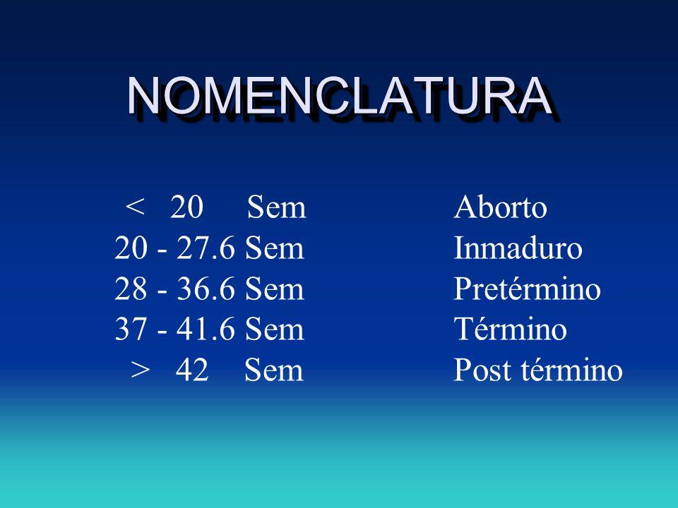 NOMENCLATURA 20 - 27.6 Sem Inmaduro 28 - 36.6 Sem Pretérmino