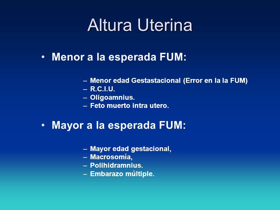 Altura Uterina Menor a la esperada FUM: Mayor a la esperada FUM: