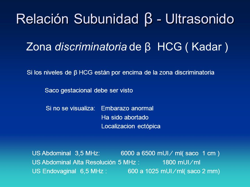 Relación Subunidad β - Ultrasonido