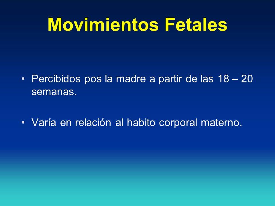 Movimientos Fetales Percibidos pos la madre a partir de las 18 – 20 semanas.
