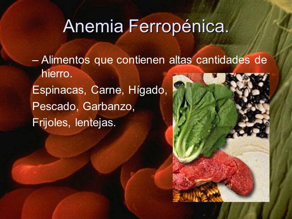 Anemia Ferropénica. Alimentos que contienen altas cantidades de hierro. Espinacas, Carne, Hígado, Pescado, Garbanzo,