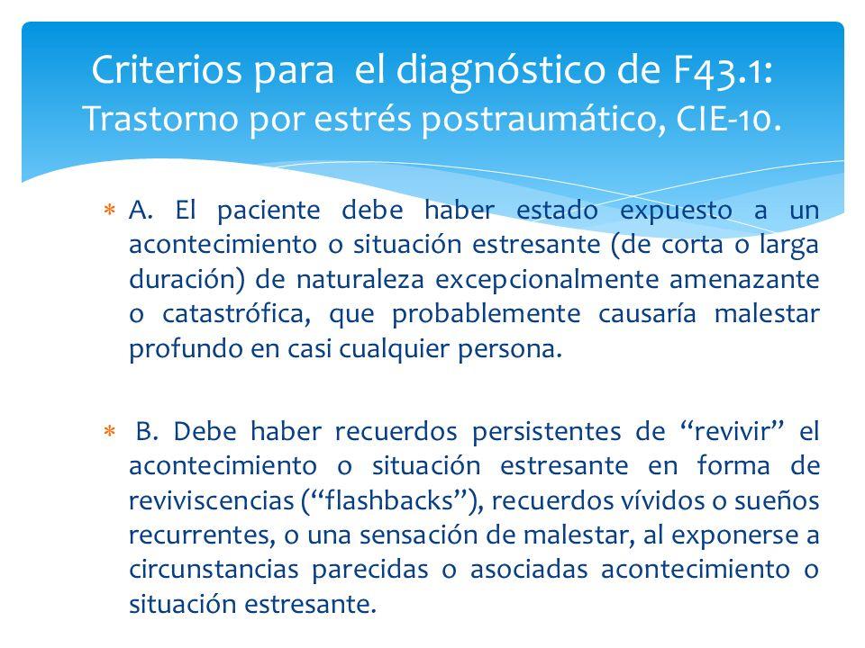 Criterios para el diagnóstico de F43