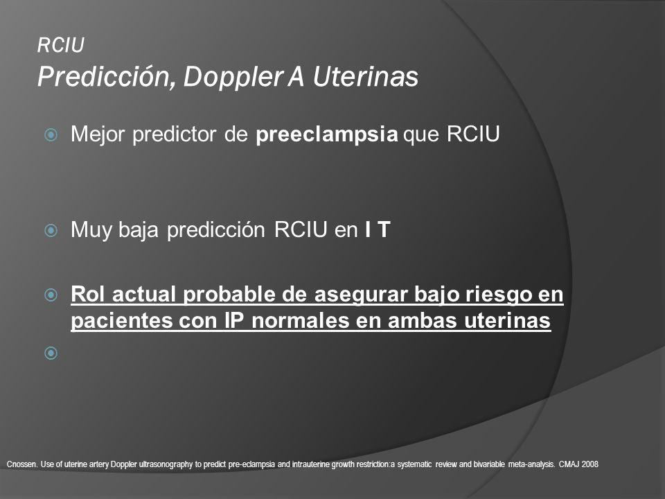 RCIU Predicción, Doppler A Uterinas