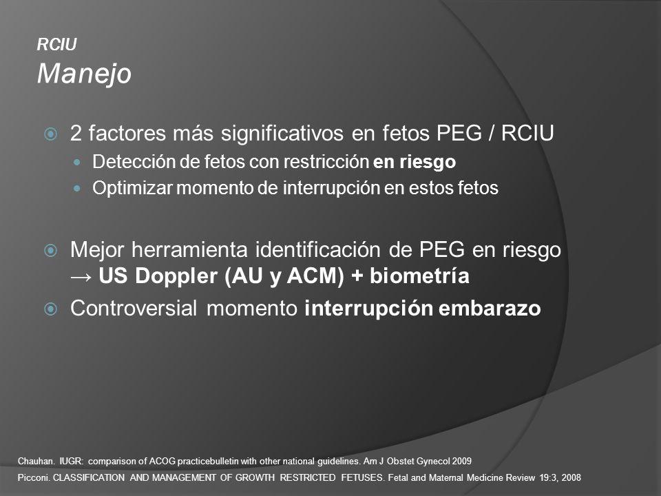 2 factores más significativos en fetos PEG / RCIU