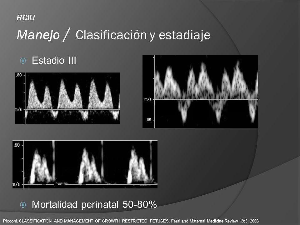 RCIU Manejo / Clasificación y estadiaje