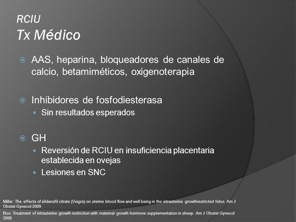RCIU Tx Médico AAS, heparina, bloqueadores de canales de calcio, betamiméticos, oxigenoterapia. Inhibidores de fosfodiesterasa.