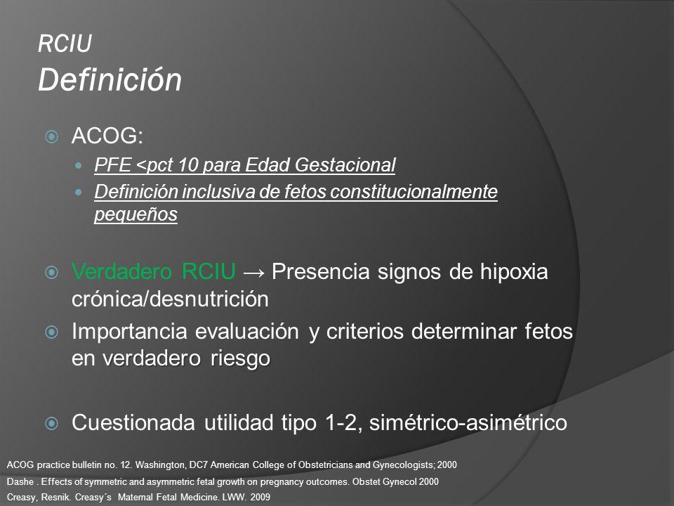 RCIU Definición ACOG: PFE <pct 10 para Edad Gestacional. Definición inclusiva de fetos constitucionalmente pequeños.