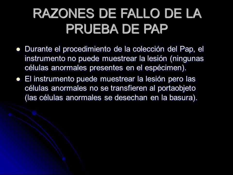 RAZONES DE FALLO DE LA PRUEBA DE PAP