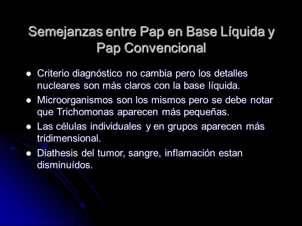 Semejanzas entre Pap en Base Líquida y Pap Convencional