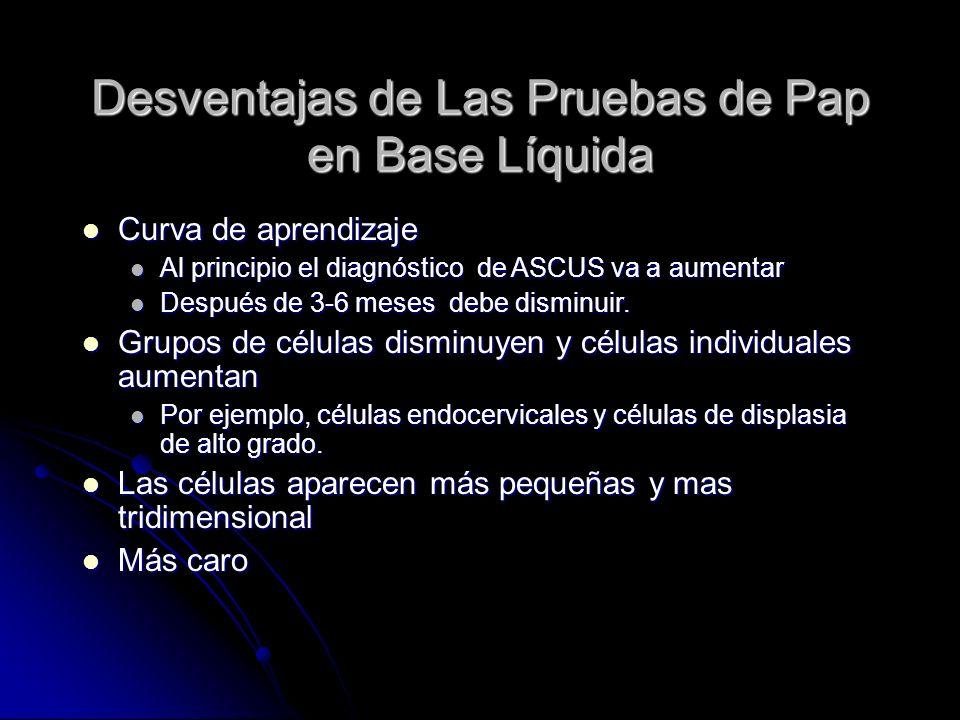 Desventajas de Las Pruebas de Pap en Base Líquida
