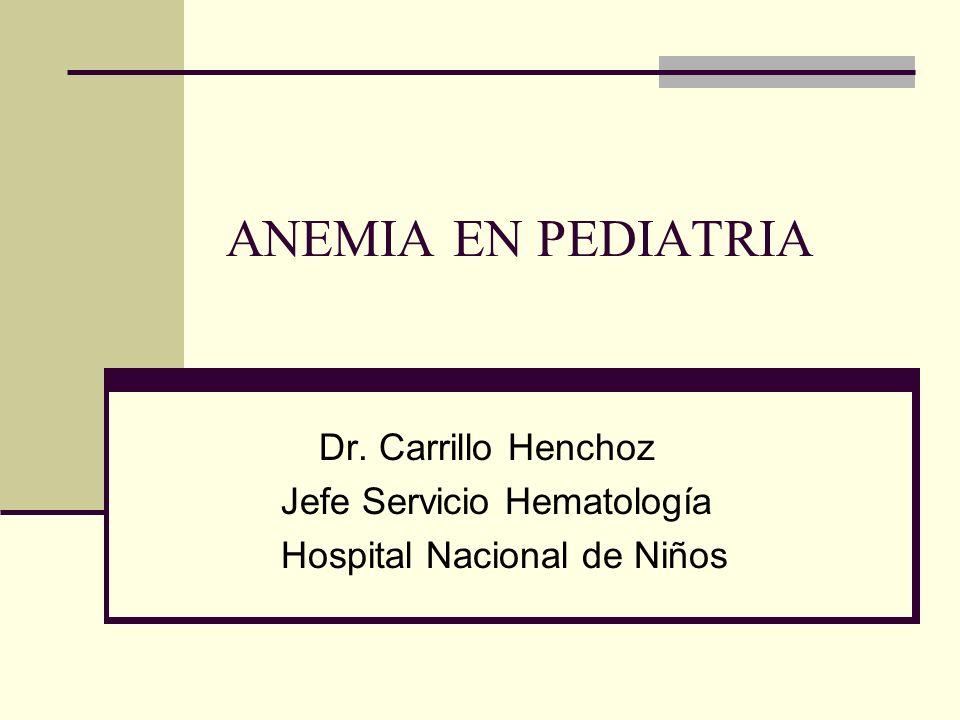 ANEMIA EN PEDIATRIA Dr. Carrillo Henchoz Jefe Servicio Hematología