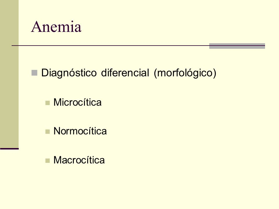 Anemia Diagnóstico diferencial (morfológico) Microcítica Normocítica